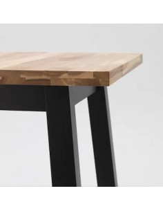Table de bar, acacia, noir, 74x74x102 cm